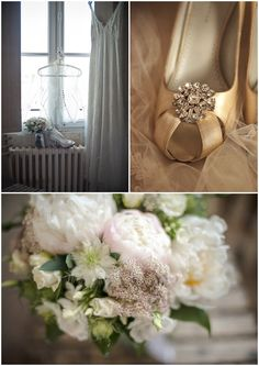 wedding flowers charentes with gold wedding shoes #shoes #wedding