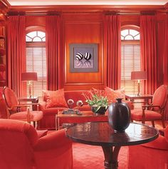 All Red Living Room.