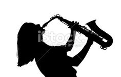 Young Woman Playing Saxophone In Black And White Photo | SpiderPic ...