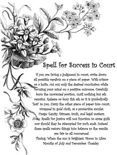 Magick Spells:  #Spell for #Success in #Court.~ https://www.facebook.com/thesoulfuleclectic ☽O☾