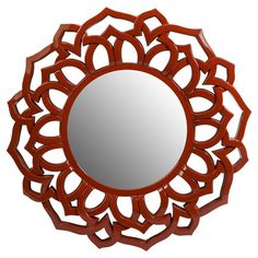 Add a bold touch to your entryway or master suite with this eye-catching wall mirror, showcasing an openwork frame in red.   Produc...