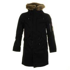 Pretty Green Parka Jacket Black                    @mainlinemenswear