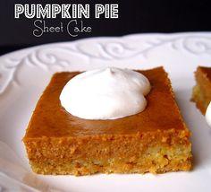 Pumpkin pie sheet cake - has crust made with yellow cake.