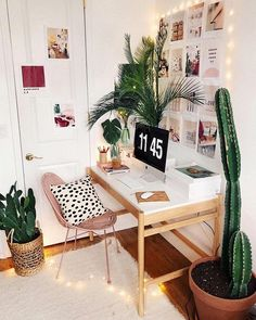 Abundant botanicals and twinkling lights make for an equally charming and inviting home office design. Abundant botanicals and twinkling lights make for an equally charming and inviting home office design. Home Office Design, Home Office Decor, Office Desk, Office Inspo, Desk Inspo, Office Style, Dorm Desk Decor, Cute Desk Decor, Urban Home Decor