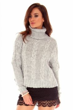 Thick Sweaters, Girls Sweaters, Cardigans For Women, Women's Sweaters, Long Sweater Dress, Sweater Outfits, Grey Sweater, Sweater Dresses, Womens Knit Sweater