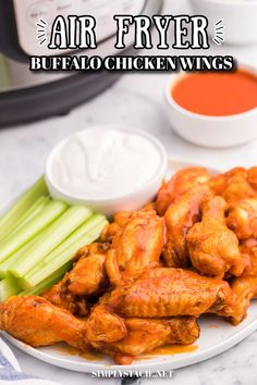 Air Fryer Chicken Wings - Make this crispy and saucy appetizer in your air fryer - NO deep frying required! They are spicy, juicy and so flavorful and make the best late night snack. Casserole Recipes, Soup Recipes, Cooking Recipes, Best Late Night Snacks, Air Fryer Chicken Wings, Chicken Wing Recipes, Buffalo Chicken, Yummy Appetizers, Easy Dinner Recipes