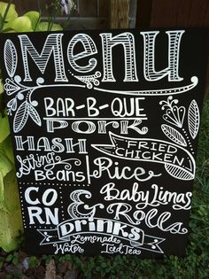 Handwritten 15x20 Chalkboard Wedding Menu Sign -- I love the idea of doing a menu sign. We're doing a buffet and I don't want too print individual menus for each guest. This feels way less formal. And this one is so pretty!