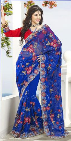 $176.94 Blue Embroidered with Stone Work Net Party Wear Saree 25875