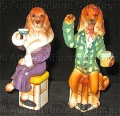 Vintage Ivan the Orator and Miss Ritz Bar Hound set of Porcelain Curio Cabinet Figurines, $79.99