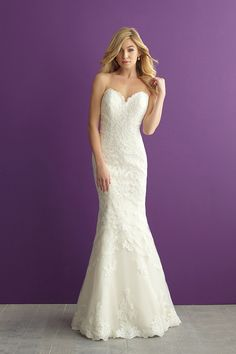 Strapless, lace wedding dress - fit-and-flare gown with sweetheart neckline -  Style 2954  from @allurebridals