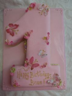 Butterfly No1 first birthday cake