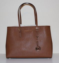 NWT MICHAEL Michael Kors Genuine Leather Jet Set Travel Large EW Tote Handbag $195.0