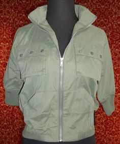 RED BUTTON SEVEN olive green short sleeve military style jacket XS (T02-02A6G) #REDBUTTONSEVEN #Military