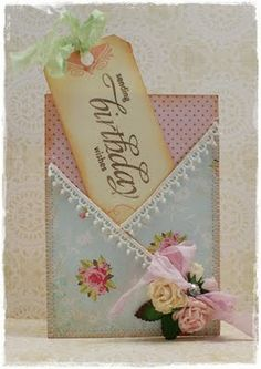 Sweet Pocket Card...with a Bookmark Greeting & roses.   scraplenet.