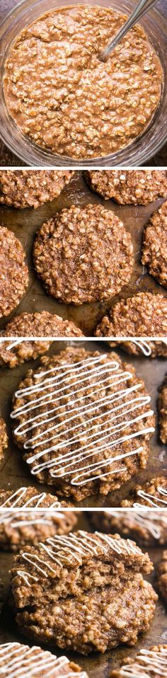 Clean-Eating Cinnamon Roll Cookies -- just 97 calories, but these skinny cookies don't taste healthy at all! You'll never need another oatmeal cookie recipe again! Ingredients: for the cookies 1 cup (100g) instant oats (measured like this and gluten-free, if necessary) ¾ cup (90g) whole wheat or gluten-free* flour (measured like this) 2 tsp ground cinnamon 1 ½ tsp baking powder ¼ tsp salt 2 tbsp (28g) coconut oil or unsalted butter, melted and cooled slightly 1 large egg, room temperature 1…