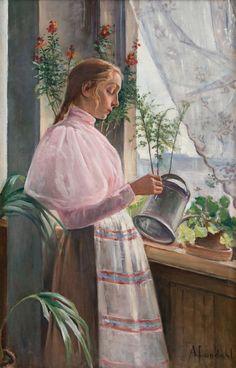 Amelie Lundahl (Finnish, 1850 - 1914): Girl watering flowers (via Bukowskis)