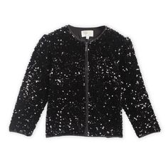 Bomber jackets are always in trend! Our gorgeous Disco Sequins Jacket is a combination of comfort and organic style. The detailed square reinforced for durability with a gorgeous lining. Will make your outfit stand out. Fully lined. Fabric: Polyester Color: Black Length: Regular Length Neck: Round Neck Sleeve: Full Sleeves Pattern-Work: Sequined Washcare: Normal Machine Wash Girls Coats & Jackets, Sequin Jacket, Full Sleeves, Bomber Jackets, Color Black, Sequins, Organic, Fabric, Pattern