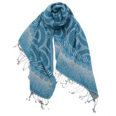 Fusion -- Monochromatic interlocking circles and stripes with soft gradient border form an amazing scarf. Soft wool with twisted fringe.