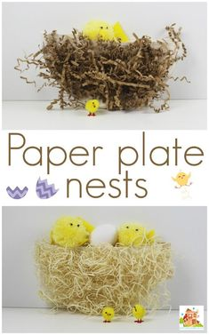Simple paper plate chick nests perfect for Easter or Spring kids crafts. This easy childrens activity uses recycled papers. Spring Crafts For Kids, Paper Crafts For Kids, Easter Crafts, Toddler Crafts, Preschool Crafts, Preschool Prep, Preschool Education, Preschool Christmas, Preschool Ideas