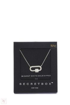 Secret Box Rhinestone Cube Oval Ring Pendant Necklace - Silver