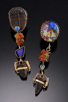 Lisa Ben-Zeev:  Earrings.trilobite fossil, boulder opals, garnets, fossilized alligator teeth, 14 KY, 14 KW. $3200