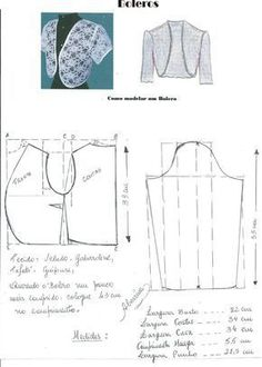 Womens Fashion - How to make a bolero party. Easy Sewing Patterns, Clothing Patterns, Sewing Tutorials, Dress Patterns, Barbie Clothes, Diy Clothes, Crochet Bolero, Costura Fashion, Sewing Blouses
