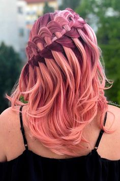 Pink Ombre Hair With Ladder Braid ❤  #lovehairstyles #hair #hairstyles #haircuts