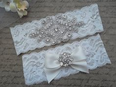 OLIVIA Style A-Vintage Inspired Wedding Garter Set, Ivory Lace Garter, Rhinestone Crystal Bridal Garter