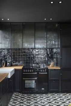 Black Tiles and Glass. Kitchen Design