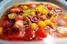 Missy's Marinated Tomatoes... use on bruschetta, pasta al dente, salads or anything! I would add some lemon zest :-)