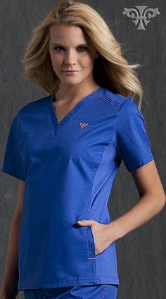 bfa4948d4aa Med Couture EZ Flex Side Knit Top: - Missy fit - Classic v-neck - Stretch  side knit panels with Spandex - Side panel pockets - Side knit dyed to  match ...