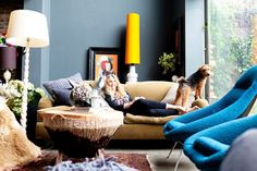 dark + eclectic home of Abigale Ahern, London #grey #yellow #lamp