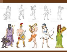 greek gods set illustration royalty-free stock vector art