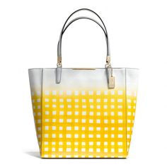 The Madison North/south Tote In Gingham Saffiano Leather from Coach