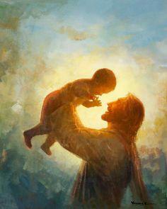 Picture of Heaven's Gift God and Jesus Christ Lds Art, Bible Art, Arte Lds, Image Jesus, Pictures Of Jesus Christ, Jesus Painting, Heaven Painting, Gift From Heaven, Prophetic Art