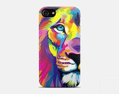Colorful Lion Art Animals iPhone Cases & Skins for X, 8/8 Plus case, 7/7 Plus, SE, 6s/6, 5/5S/5C, 4/4S case Gift For Her Him Men COVER Phone