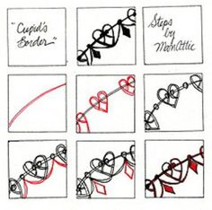 zentangle patterns cupid border