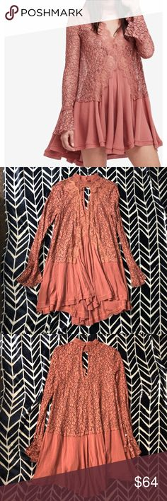 """Dusty mauve origins free People Tunic Dress Woman's size extra small free people origins tunic new without tag. Mock Turtleneck, cut out at chest. Button-loop closures at back; keyhole opening. Long sleeves, flared cuffs. All over lace. Asymmetrical hem. Hits above knees. Rayon/polyester/nylon This does not have a size tag! This measures 17 1/2"""" across the chest, the underarm sleeve length is 20 1/2"""" and this is 34"""" long. *all measurements are approximate. Free People Dresses Mini"""