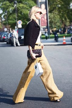 Outfit Inspiration! Here's How You Wear Wide-Leg Trousers via @WhoWhatWear