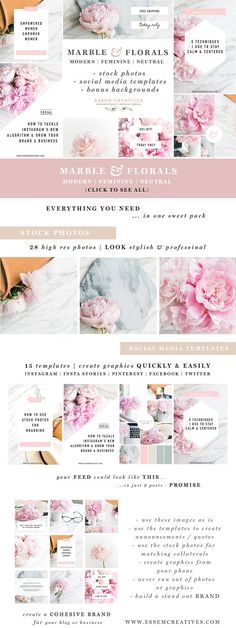 Marble Floral Social Media Branding - a Mega Pack of content for small business owners. It contains high resolution stock photos (and pre-sized square, vertical & horizontal crops), templates to quickly create beautiful & on brand graphics, and also pre-made backgrounds for quick use from mobile devices (like when you suddenly need to post something on Insta Stories and are looking for a pretty background). By Essem Creatives. $35 #affiliatelink