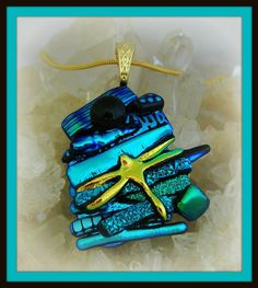 Dragonfly Picasso Style Dichroic Glass Pendant - by dichroiccreations