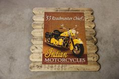 Large Indian Motorcycles Metal Poster Framed in Distressed Pinewood by ArtMaxAntiques on Etsy