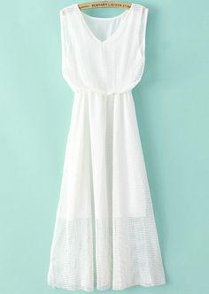 White V Neck Sleeveless Double Layers Gauze Dress 20.33