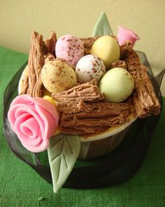 """Easter-Nest Cupcake:Cutest Cupcakes 2008 Contest Winners   Theairyfairy sent in this beautiful image with the comment, """"A whimsical cupcake nest laden with speckled eggs and decorated with dainty roses. It would be at home in any enchanted forest!"""""""