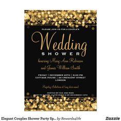 Elegant Couples Shower Party Sparkles Gold