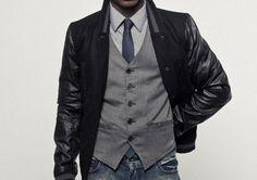vest + leather jacket