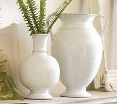 Rustic White Vases #potterybarn