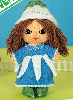 Original Rag Doll Knitting Pattern Knitted Doll Victoria Plum