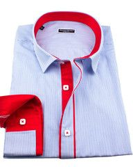 Franck Michel designer French slim fit dress shirt in blue with colorful details .$99.00