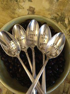 vintage silverware hand stamped coffee by BellaJacksonStudios, $36.99.. yes yes…
